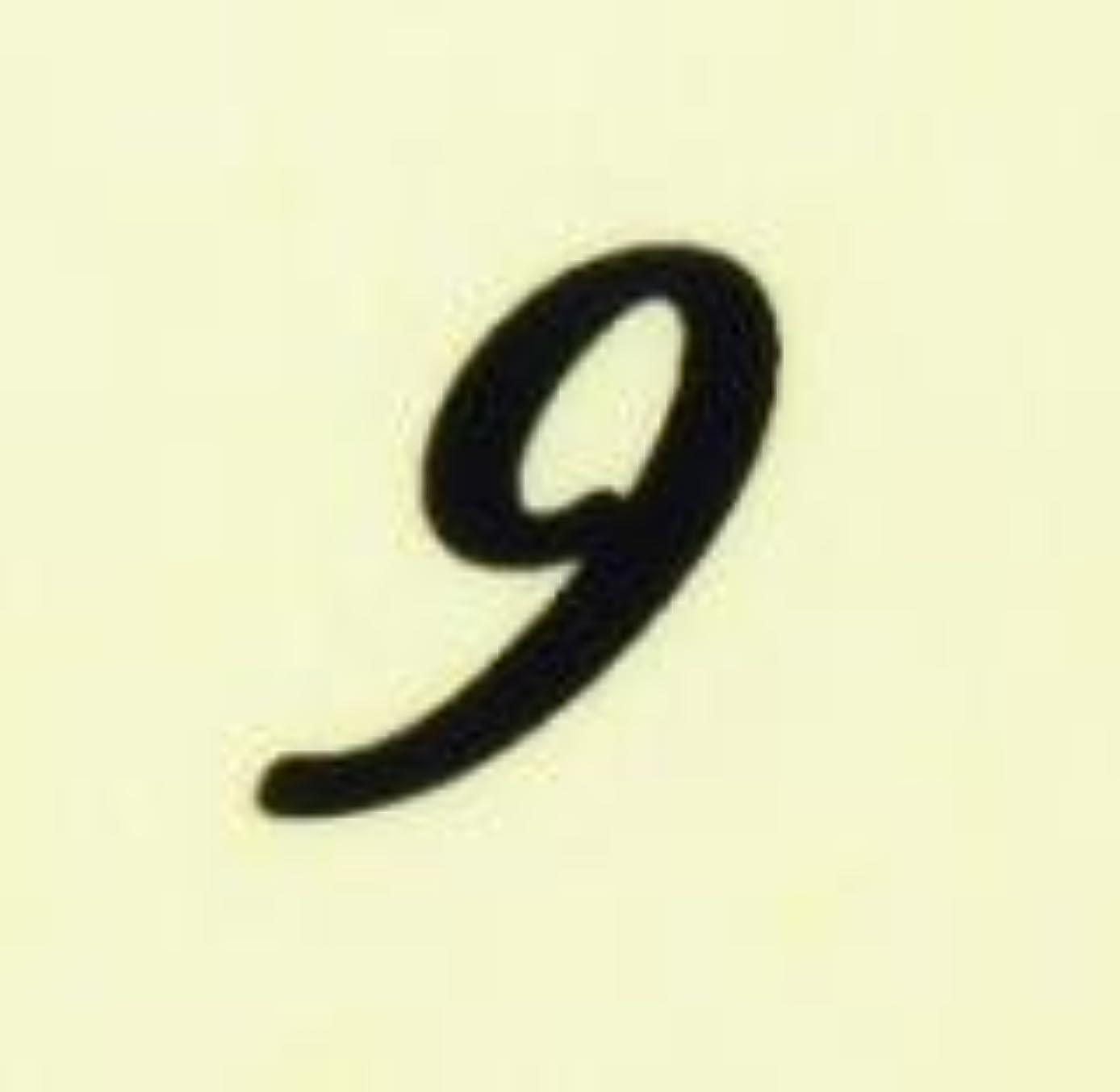 前文留め金ボット【数字ネイルシール】1筆記体《9》BK/各1シート9枚入