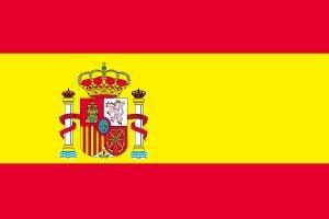 テトロン製 スペイン紋入り国旗(M判・34×50cm)