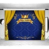 LB Royal Prince Backdropベビーシャワー誕生日パーティーデコレーション7x 5ftビニールブルー背景幕Kingゴールドカーテン写真背景新生児の子Portrait Photoshoot Studio小道具