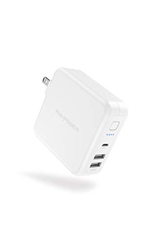 RAVPower モバイルバッテリー 搭載 USB 充電器 6700mAh 急速充電 USB 2ポート 最大5V/3A 軽量 折畳式プラグ 菱丸PSE認証済 iPhone iPad Android等対応 RP-PB125 (ホワイト)