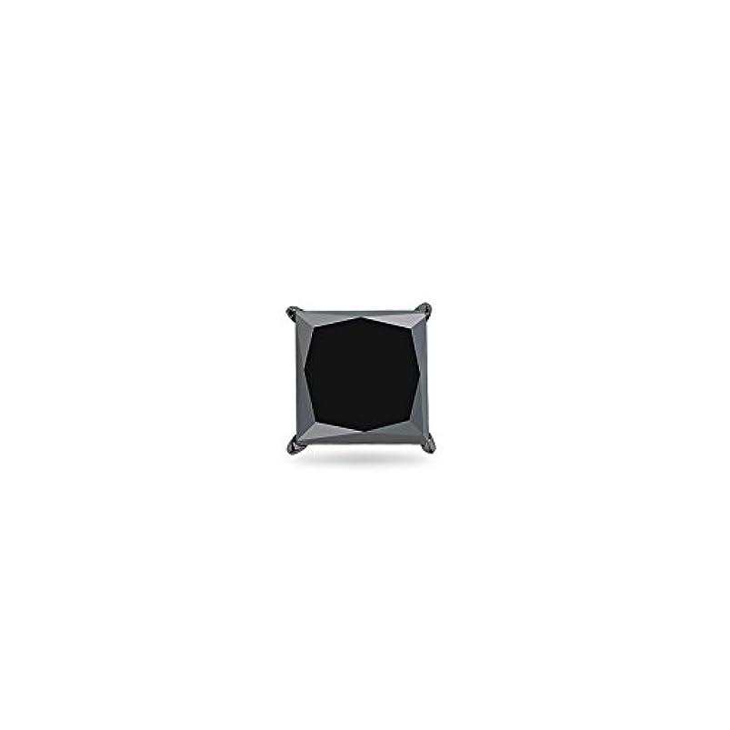 博覧会ポルノ与えるクリスマスDeal on 3 / 8 ( 0.35 – 0.45 ) CTSの3.0 – 3.5 MM AAプリンセスブラックダイヤモンドメンズスタッドイヤリングで14 K Blackenedホワイトゴールド