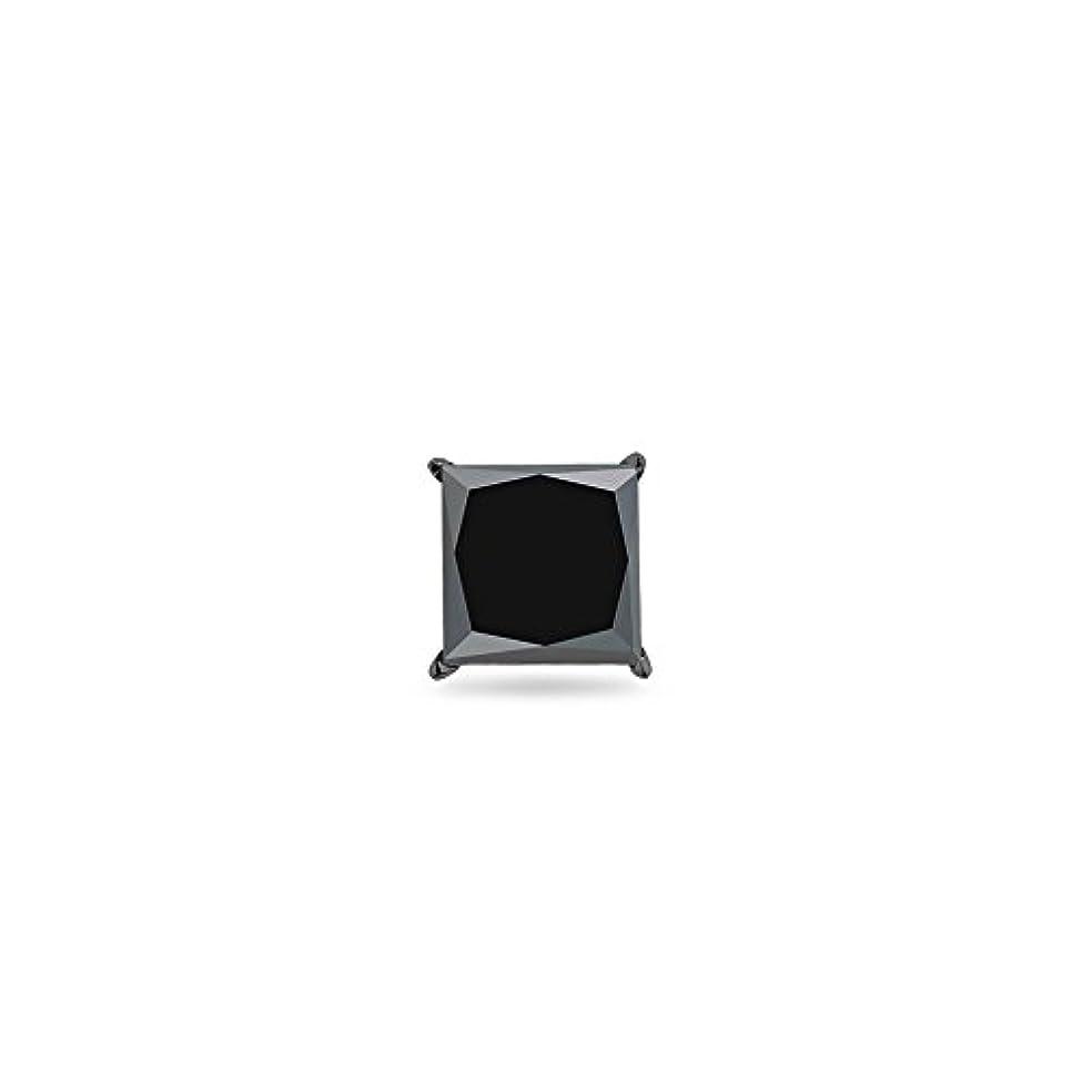 本物の水銀のほのかクリスマスDeal on 1 / 2 ( 0.46 – 0.55 ) CTSの4.89 – 4.93 MMプリンセスAAAブラックダイヤモンドメンズシングルスタッドイヤリングで14 K Blackenedホワイトゴールド