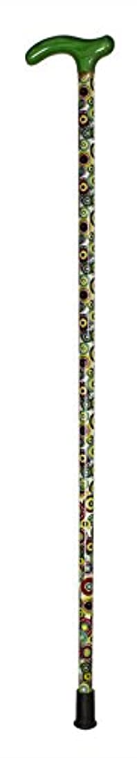 クリープ引き潮駅木製1本杖/白地丸形幾何学模様柄 G緑 TA-536-949