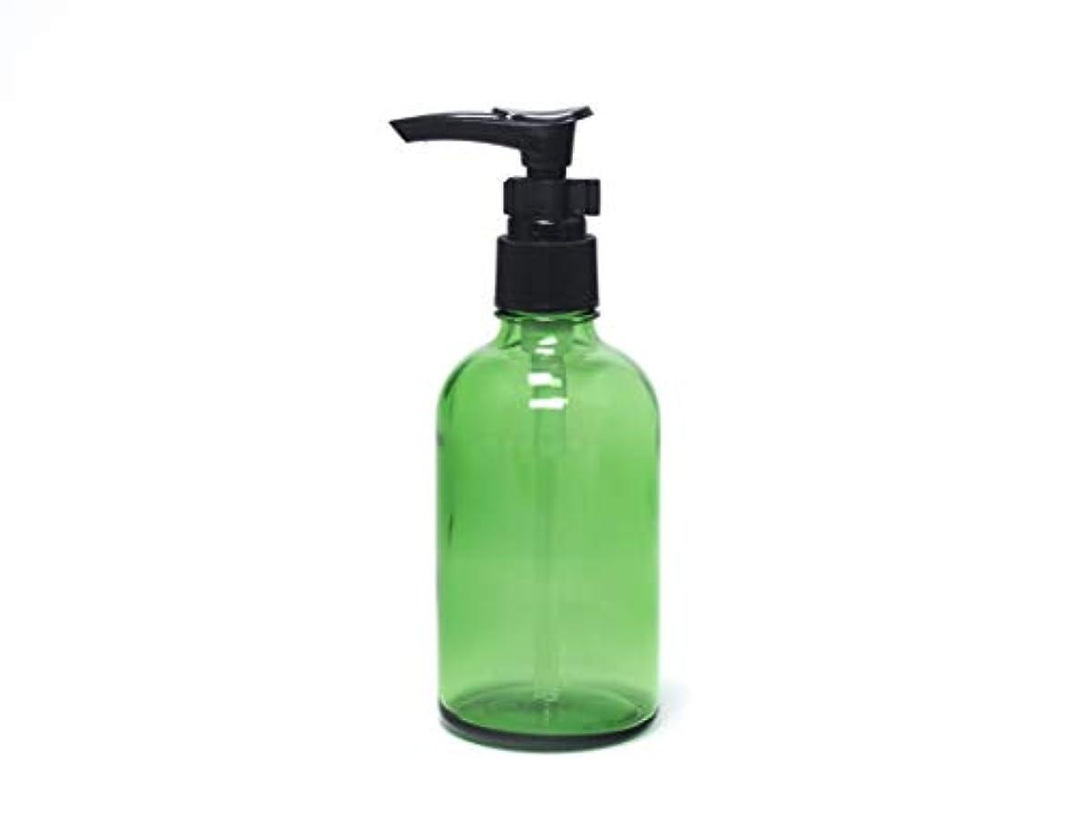 どんなときも順番契約した遮光瓶 ポンプボトル (硝子) 100ml / ボタニカルグリーン ? ブラックポンプヘッド × 1本