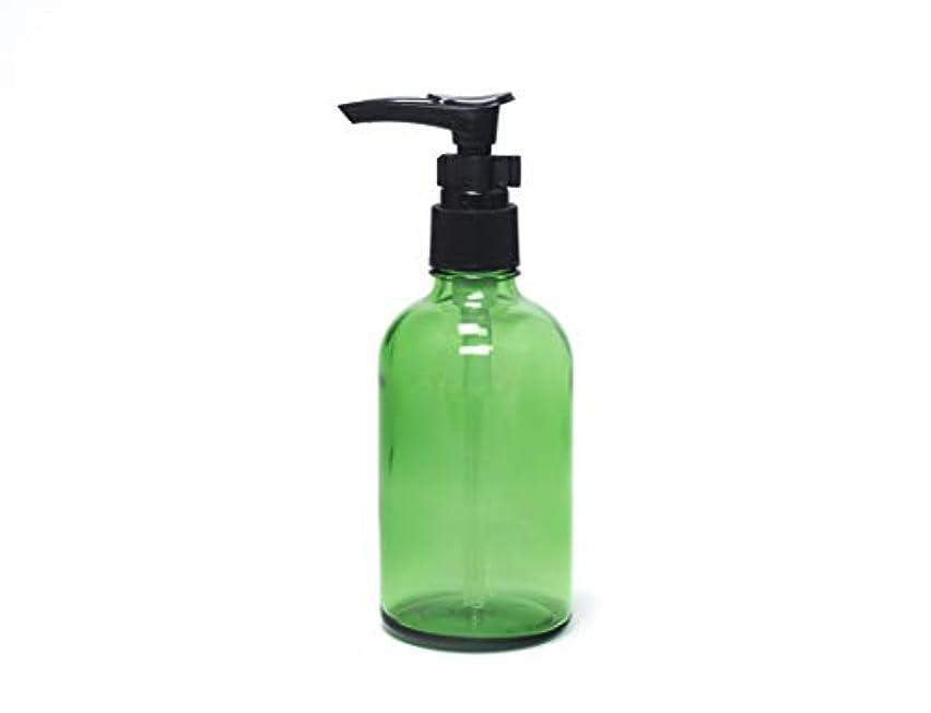 判定バンケット本遮光瓶 ポンプボトル (硝子) 100ml / ボタニカルグリーン ? ブラックポンプヘッド × 1本
