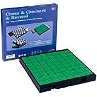 elegantstunning 1つの旅行の磁気チェス、チェッカーおよびReversiセット - 9-7 / 8``の3
