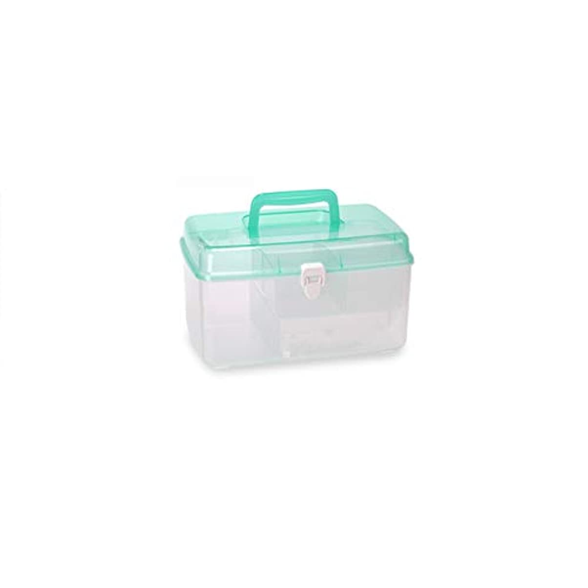 ガソリンプレゼンテーション実り多い家庭用薬箱プラスチック多層医療箱多機能救急箱薬収納ボックス ZHYGDQ (Color : Green)