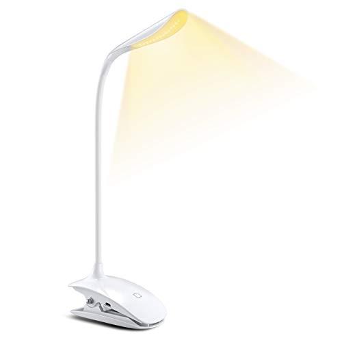 クリップライト 15LED タッチセンサー 無段階調光 3つの色温度 USB充電 360度回転 デスクライト PSE認証 電気スタンド PC作業・仕事・寝室・卓上灯・読書灯・譜面ライト 自然光 目に優しい 白 18ヶ月間安心保証