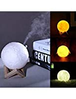 Powstro 880ML Air Humidifier 3D Moon Lamp 3 Color Changing Night Light Diffuser Aroma Essential Oil USB Charger Cool Mist Purifier for Home Office Bedroom 141[並行輸入]