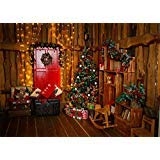 Leowefowa 7X5FT Christmas Backdrop Xmas Decoration Tree Hobbyhorse Shining Led Curtain Wood Plank Backdrops for Photography Interior Happy New Year Vinyl Photo Background Kids Adults Studio Props