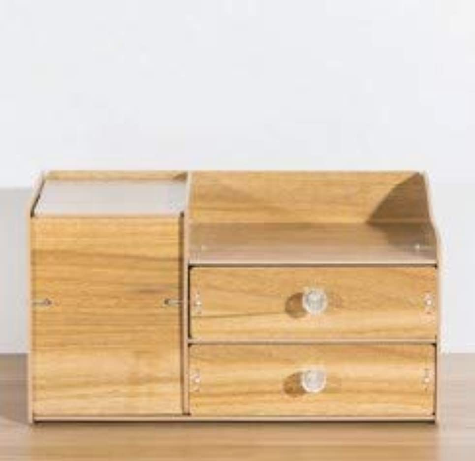 タンパク質テクニカルウガンダふたおよび引出しの収納箱が付いている木の化粧品の収納箱収納箱およびミラーが付いているデスクトップの収納箱 (Material : Walnut)