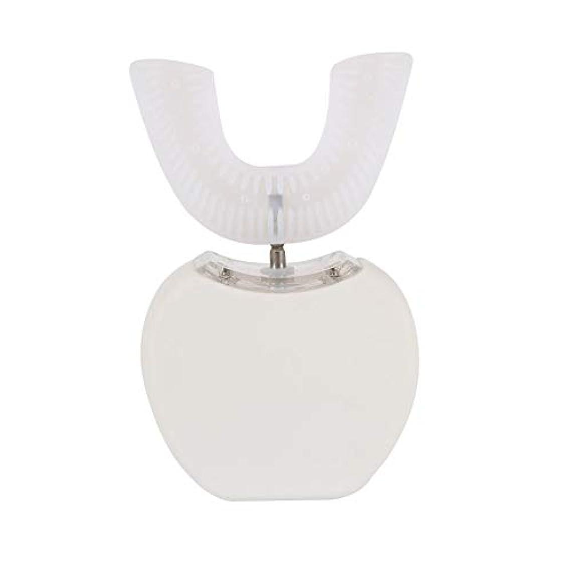 ランダム好戦的な数学的な360°ワイヤレス充電怠惰な自動ソニックシリコーン電動歯ブラシ - ホワイト