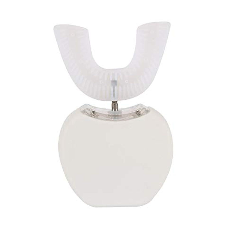 すり競争力のある注意360°ワイヤレス充電怠惰な自動ソニックシリコーン電動歯ブラシ - ホワイト