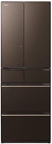 日立 冷蔵庫 520L 6ドア 強化ガラスドア 観音開き 日本製 幅65.0cm まるごとチルド R-HW52K XH グレイッシュブラウン