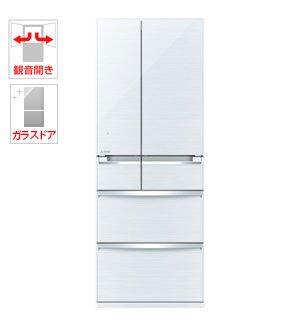 三菱 600L 6ドア冷蔵庫(クリスタルホワイト)MITSUB...