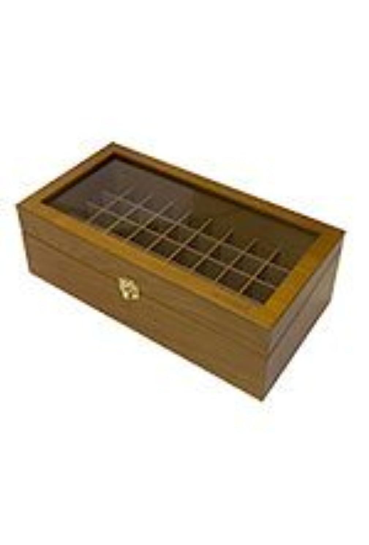 時計縫い目報告書(ドテラ) doTERRA ウッドボックス ライトブラウン 窓付き 木箱 エッセンシャルオイル 精油 整理箱 ガラストップ ガラス窓 50本