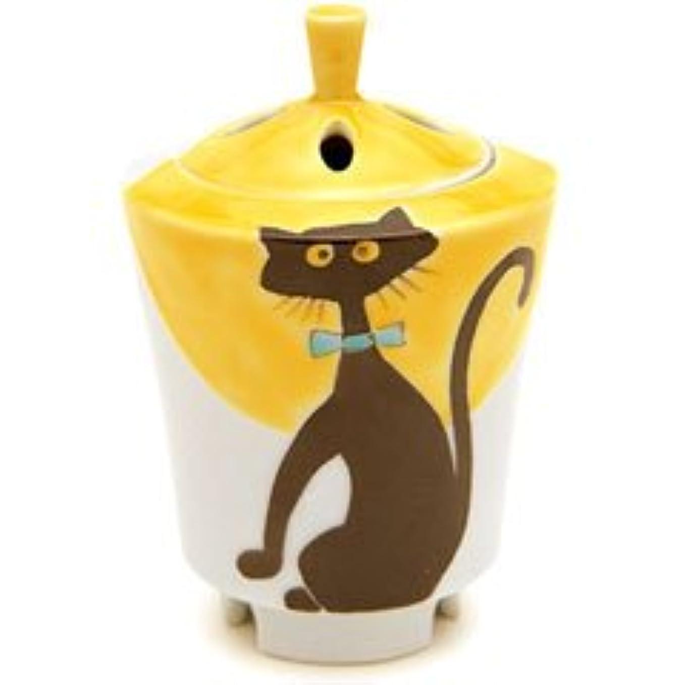 ここに懇願する応じる香炉 流麗 黒猫 【日本香堂】