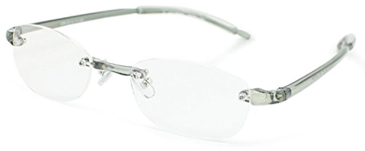 デューク 老眼鏡 +3.0 度数 縁なし エアフォルクカラーズ 形態安定樹脂フレーム ソフトケース付き クリアブラック DR-37-2+3.00