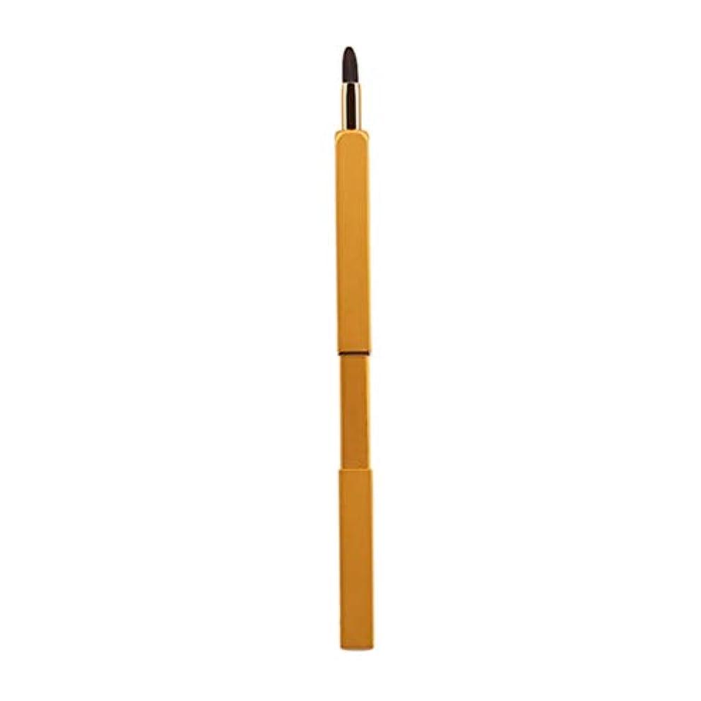 推論重量家禽Lurrose 引き込み式のリップブラシの柔らかいナイロン繊維の口紅の金属の管が付いている携帯用構造のブラシ(黄色)