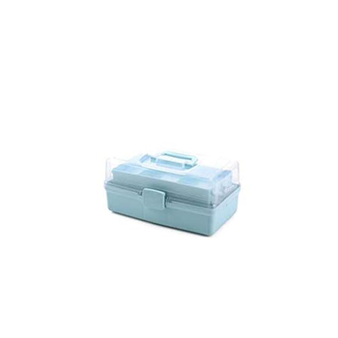 情熱永遠のテレマコスYYFRB ポータブル3層多機能収納ボックス大容量収納ボックス薬箱プラスチックツール収納ボックス白、青 医学パッケージ (Color : Blue)