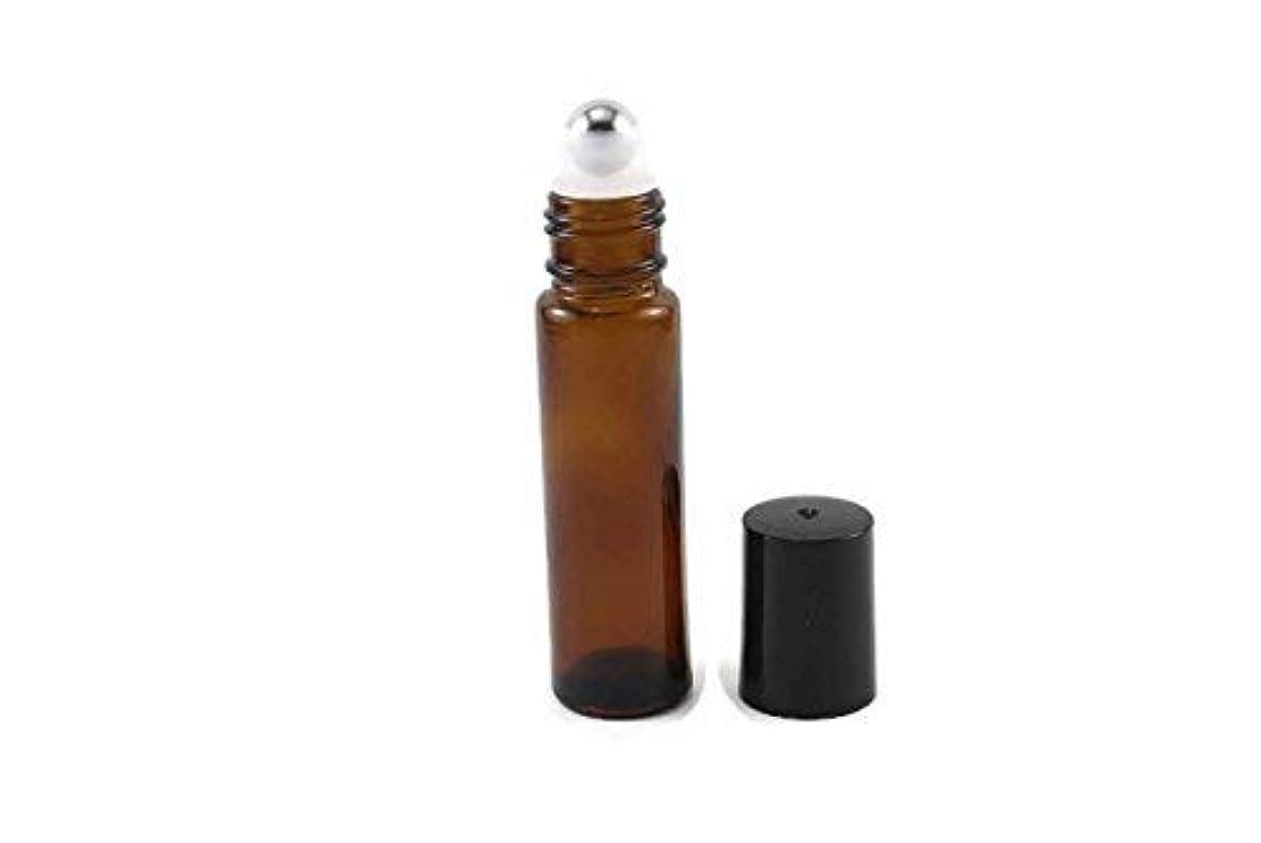 曲げるちらつき吸う144-10ml Amber Glass Roll On Thick Bottles (144) with Stainless Steel Roller Balls - Refillable Aromatherapy Essential...