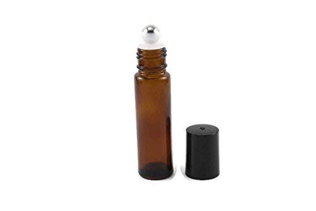 スキャンダル不屈信じる144-10ml Amber Glass Roll On Thick Bottles (144) with Stainless Steel Roller Balls - Refillable Aromatherapy Essential...