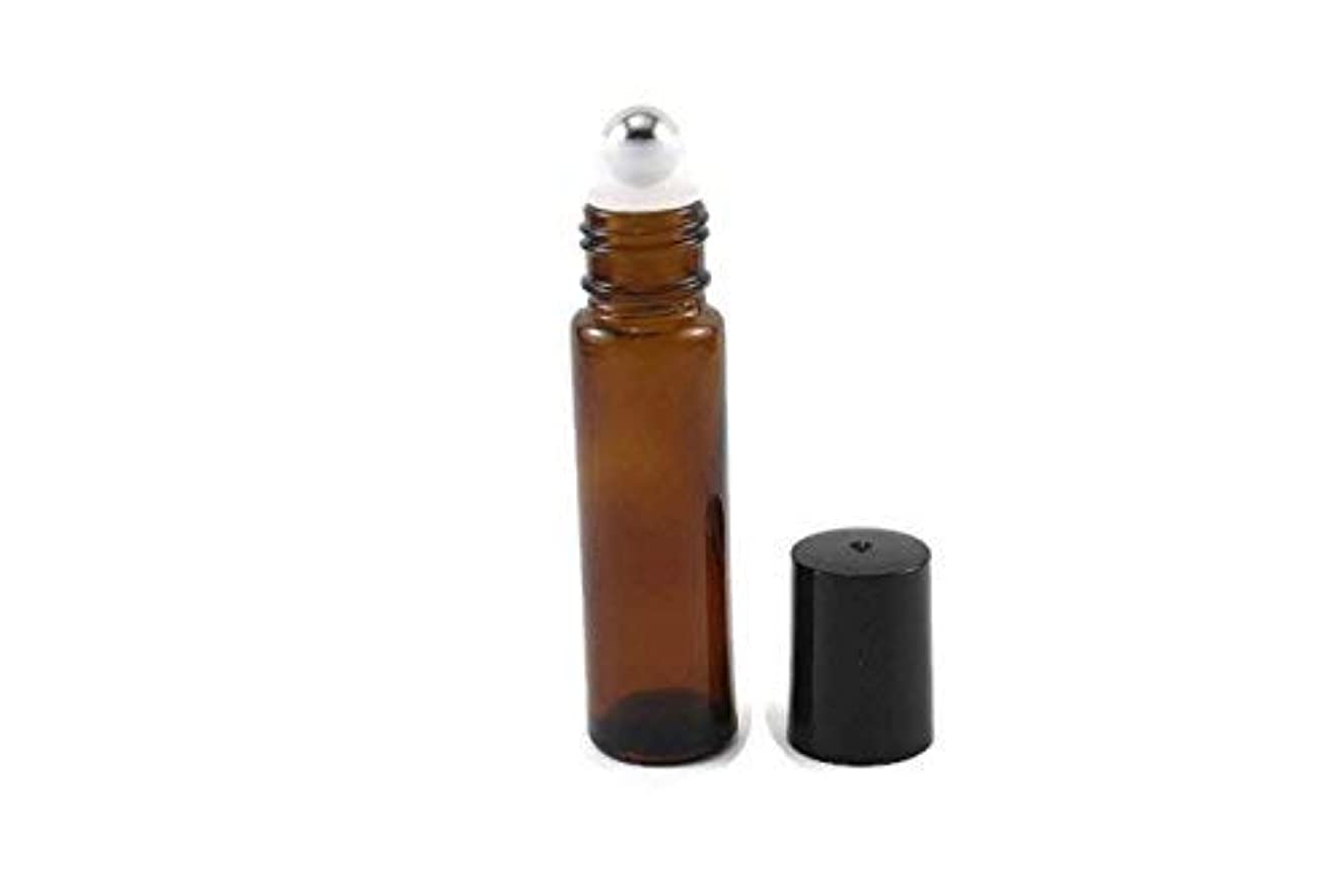 日常的に膨らませるサーバ144-10ml Amber Glass Roll On Thick Bottles (144) with Stainless Steel Roller Balls - Refillable Aromatherapy Essential...