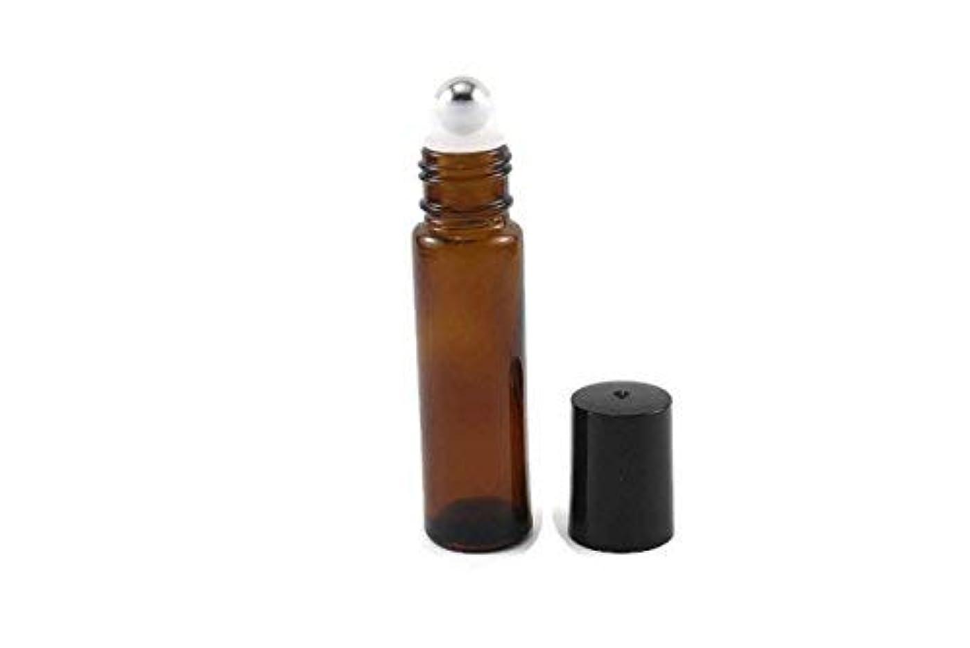 皿西表現144-10ml Amber Glass Roll On Thick Bottles (144) with Stainless Steel Roller Balls - Refillable Aromatherapy Essential...