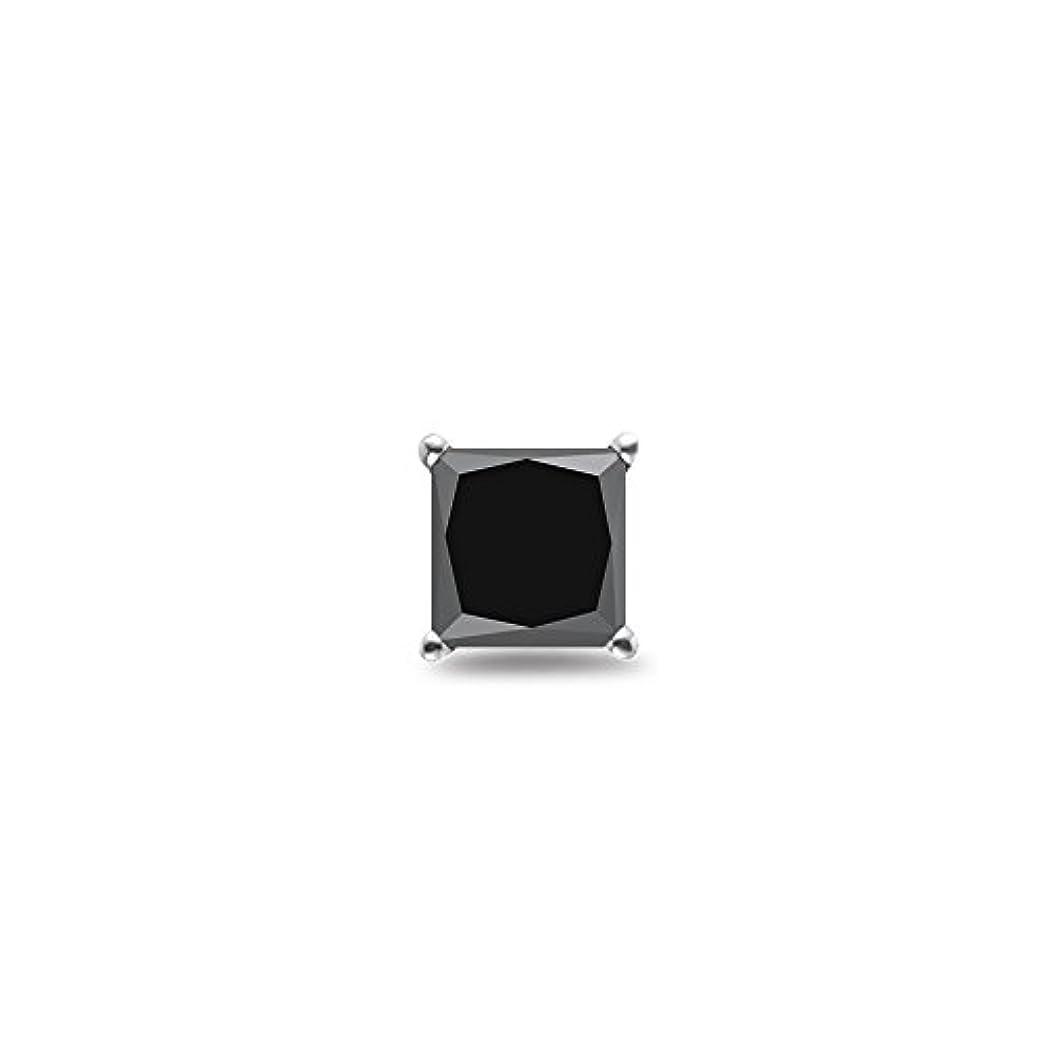 どきどきアイザック環境保護主義者3 / 8 ( 0.35 – 0.45 ) CTSの3.00 – 3.50 MM AAプリンセスブラックダイヤモンドメンズスタッドイヤリングで14 Kホワイトgold-screw Backs