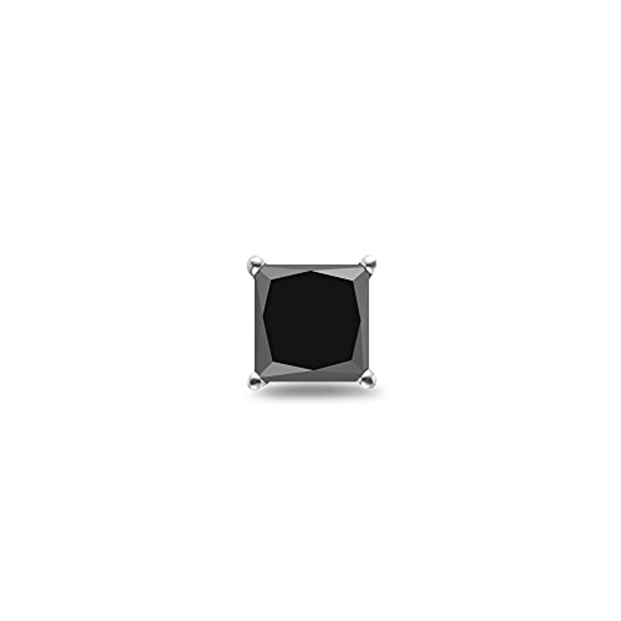 請負業者ポーズグループHoliday Deal on 1 / 2 ( 0.46 – 0.55 ) CTSの3.60 – 4.00 MM AAAプリンセスブラックダイヤモンドメンズスタッドイヤリングで14 Kホワイトゴールド