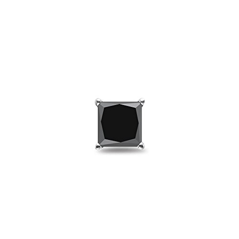 光推進どっちでもHoliday Deal on 1 / 2 ( 0.46 – 0.55 ) CTSの3.60 – 4.00 MM AAAプリンセスブラックダイヤモンドメンズスタッドイヤリングで14 Kホワイトゴールド