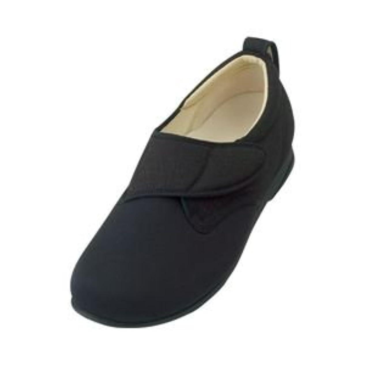 コンクリートかもしれないサイクロプス介護靴 施設?院内用 ウィングストレッチ 1102 両足 徳武産業 あゆみシリーズ /3L (25.0~25.5cm) 黒