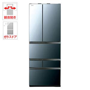 東芝 601L 6ドア冷蔵庫(クリアミラー)TOSHIBA GR-R600FZ-XK