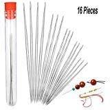16 Pieces Beading Needles, Seed Beads Needles Beading Embroidery Needles Big Eye Collapsible Beading Needles Set for Jewelry