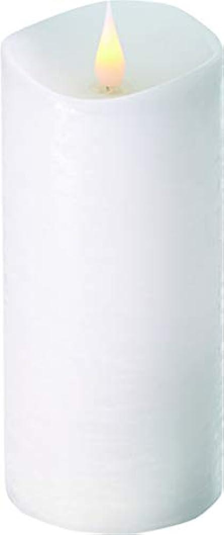 ジェム活気づけるコックエンキンドル 3D LEDキャンドル ラスティクピラー 直径7.6cm×高さ18.5cm ホワイト