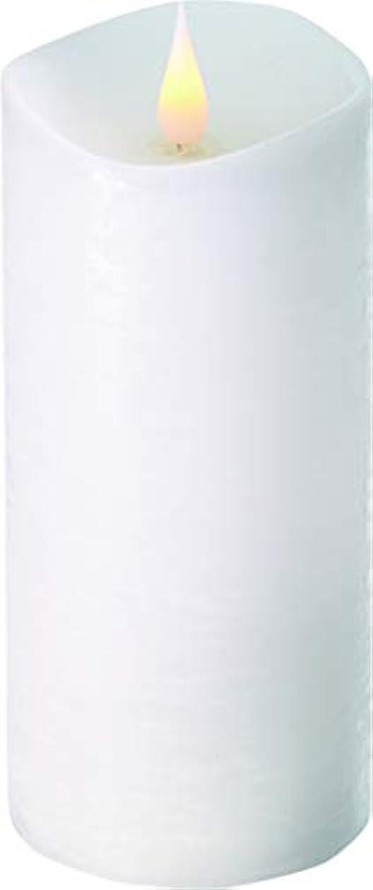 検出器低いウールエンキンドル 3D LEDキャンドル ラスティクピラー 直径7.6cm×高さ18.5cm ホワイト