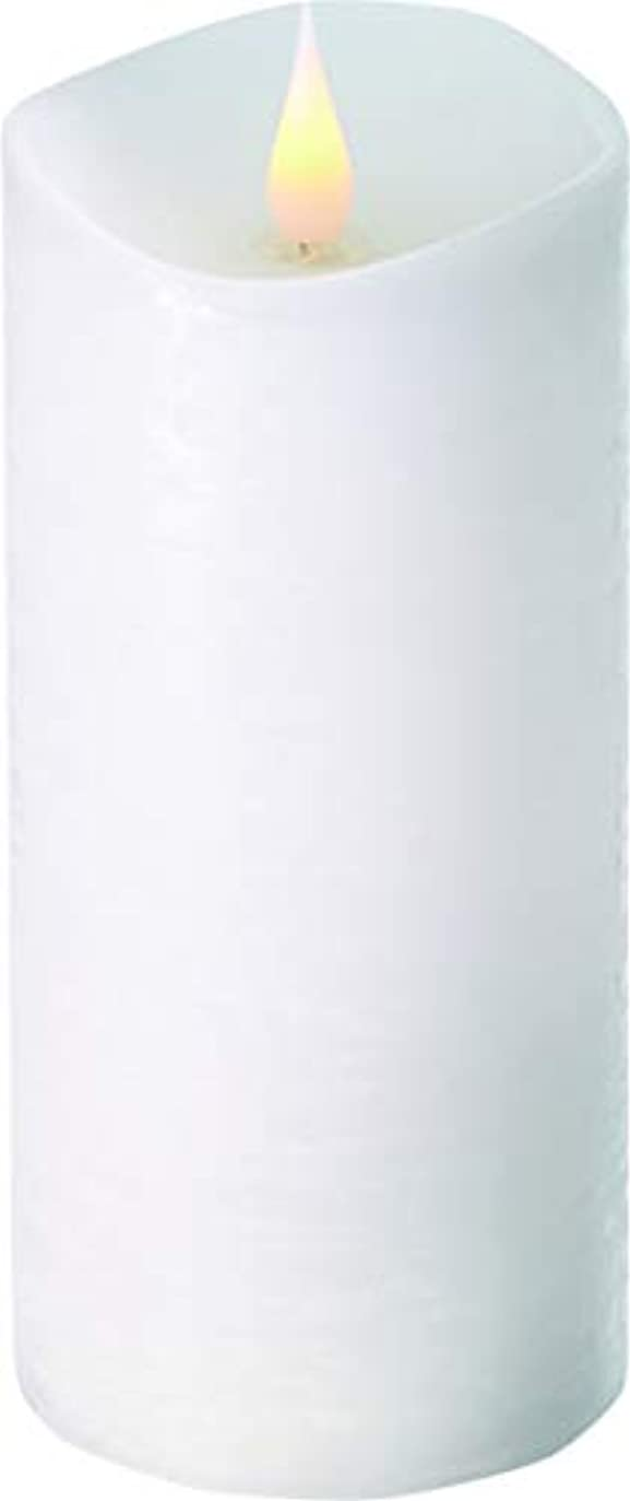 小切手生命体メタリックエンキンドル 3D LEDキャンドル ラスティクピラー 直径7.6cm×高さ18.5cm ホワイト