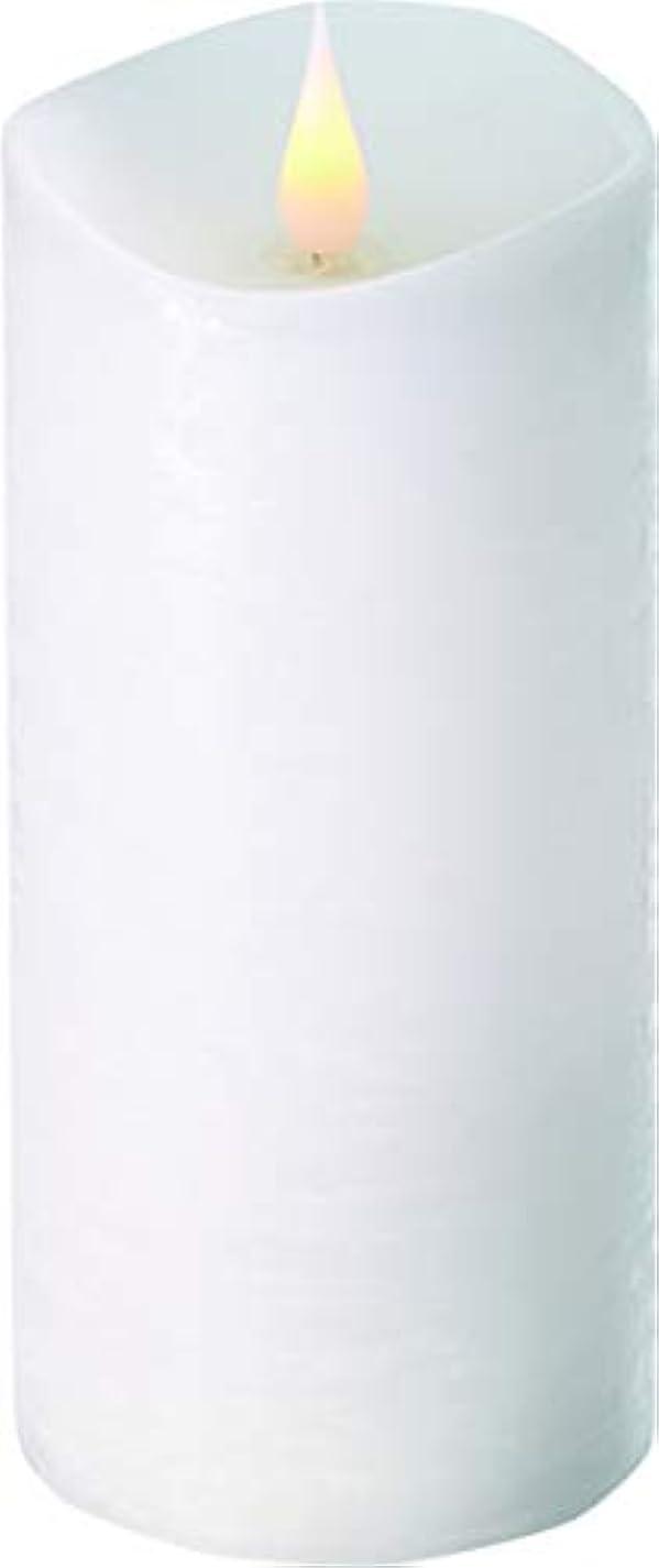 転送運動する一握りエンキンドル 3D LEDキャンドル ラスティクピラー 直径7.6cm×高さ18.5cm ホワイト