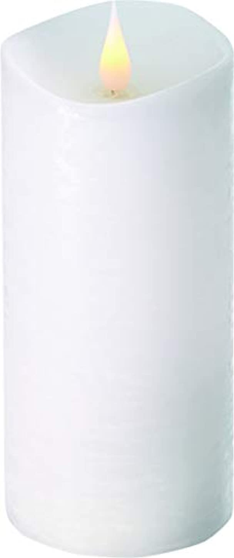 熱厚い青エンキンドル 3D LEDキャンドル ラスティクピラー 直径7.6cm×高さ18.5cm ホワイト