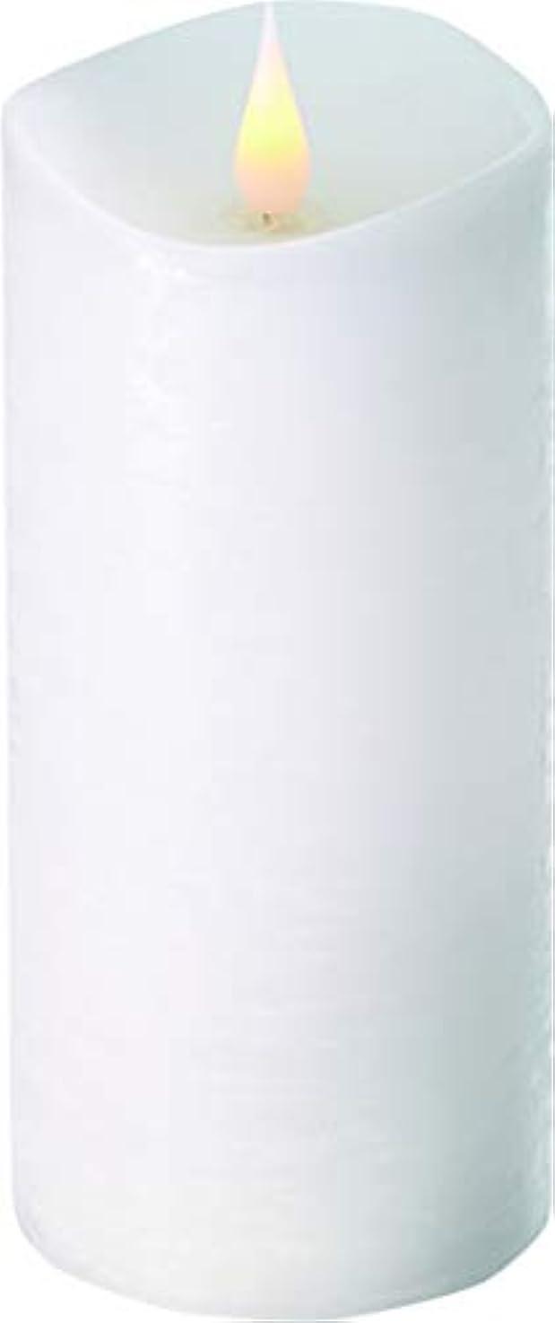 タイプ敵対的平らなエンキンドル 3D LEDキャンドル ラスティクピラー 直径7.6cm×高さ18.5cm ホワイト