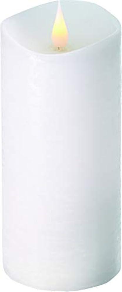 モートワーム自己尊重エンキンドル 3D LEDキャンドル ラスティクピラー 直径7.6cm×高さ18.5cm ホワイト