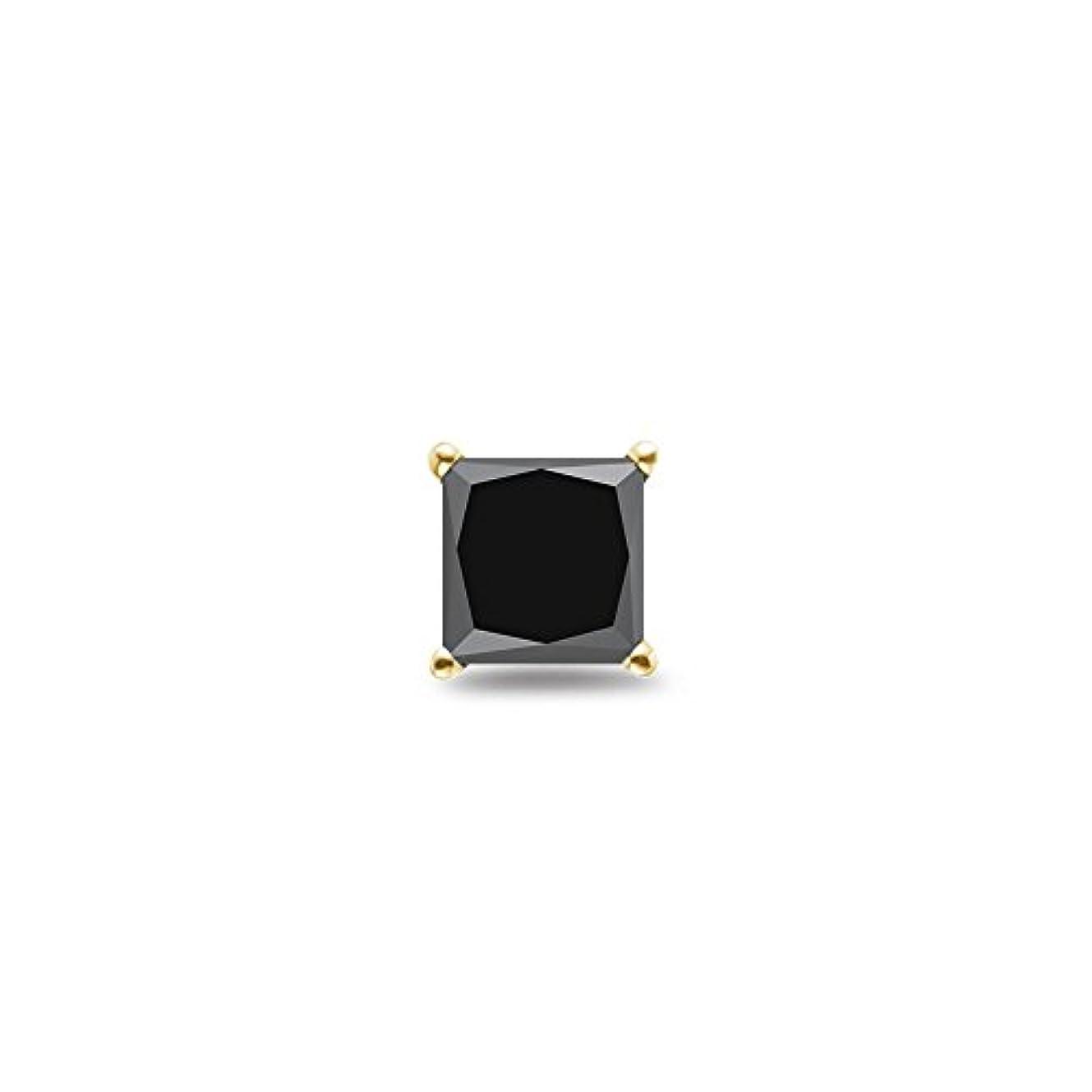 皿くるくる純度Holiday Deal – 1 / 20.46 – 0.55 ) CTSの3.60 – 4.00 MMプリンセスAAAブラックダイヤモンドメンズスタッドイヤリングで14 K黄色ゴールド
