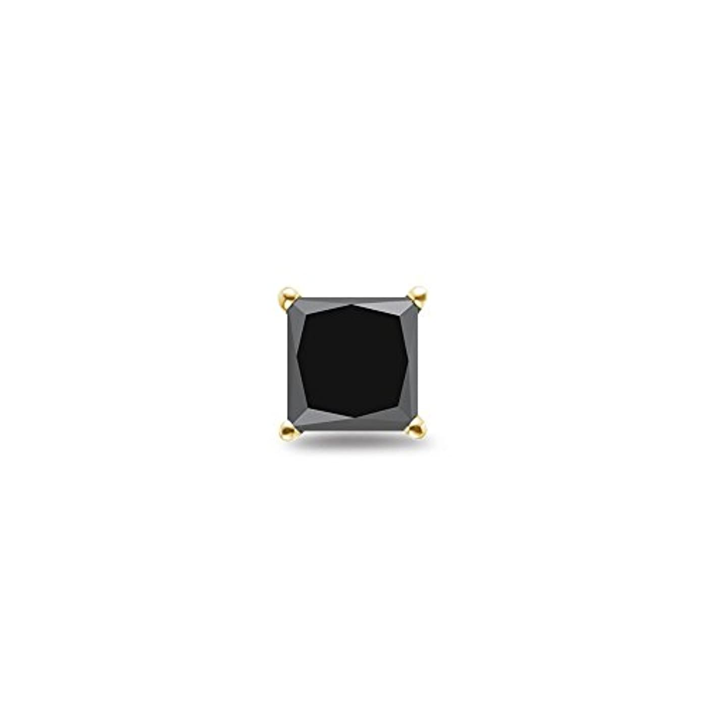 強制子供時代冗長1 / 9 ( 0.10 – 0.13 ) CTSの2.00 – 2.50 MMプリンセスAAAブラックダイヤモンドメンズスタッドイヤリング18 Kイエローゴールド