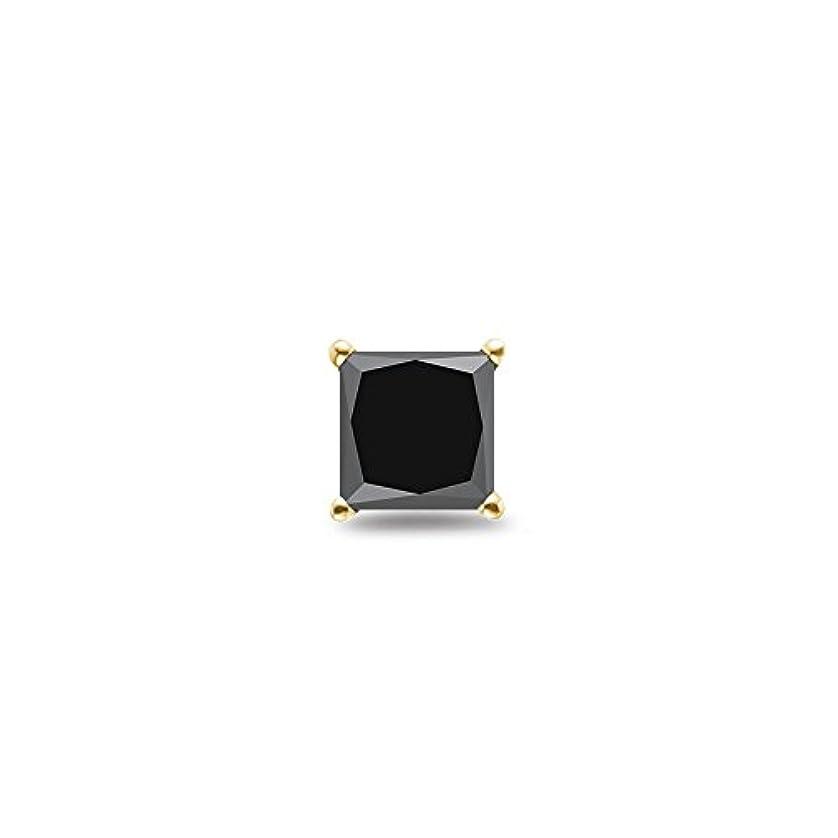補助金賃金どっちHoliday Deal on 1 / 4 ( 0.21 – 0.27 ) CTSの2.50 – 3.00 MMプリンセスAAブラックダイヤモンドメンズスタッドイヤリングで18 Kイエローゴールド