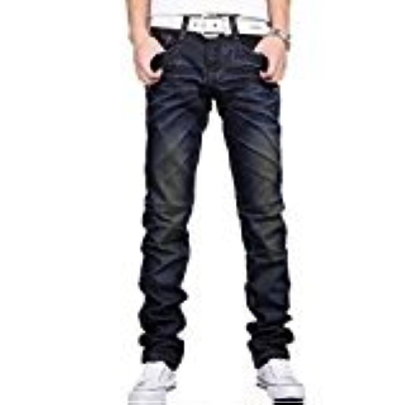 破壊教育アーサーコナンドイルRaiFu ジーンズ  ニュー メンズ ジーンズ カジュアル ダークブルー デニム メンズ パンツ ジーンズ ブルー W32 x L32