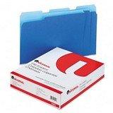 ユニバーサル10501–Coloredファイルフォルダ、1/ 3カットone-ply Topタブ、手紙、ブルー/ライトブルー、100/ box-unv10501