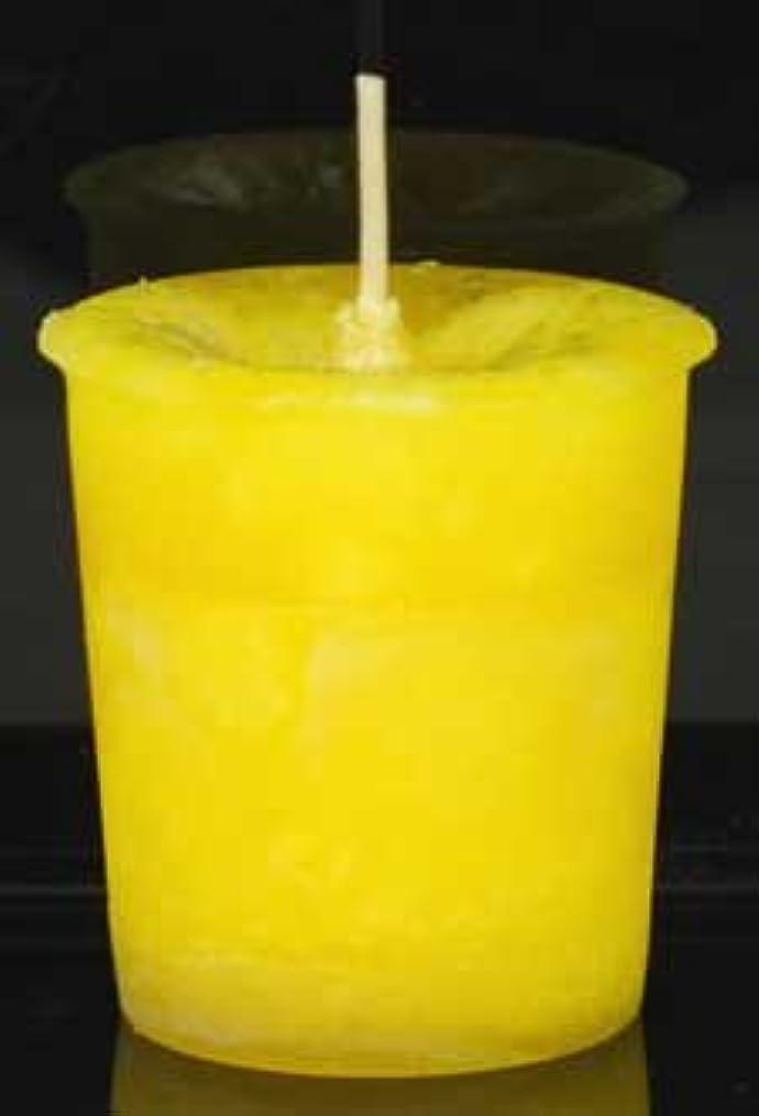 手のひら恨みグリル黄色でAzureGreen CVHPOSポジティブなエネルギーハーブ奉納キャンドル