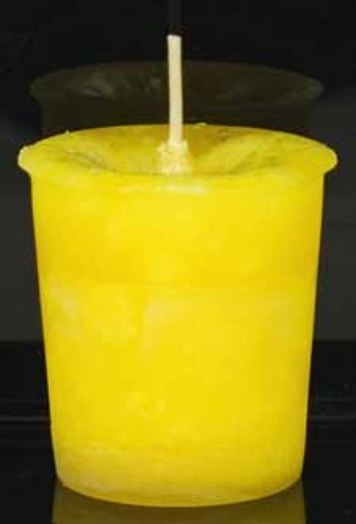野な信頼あからさま黄色でAzureGreen CVHPOSポジティブなエネルギーハーブ奉納キャンドル