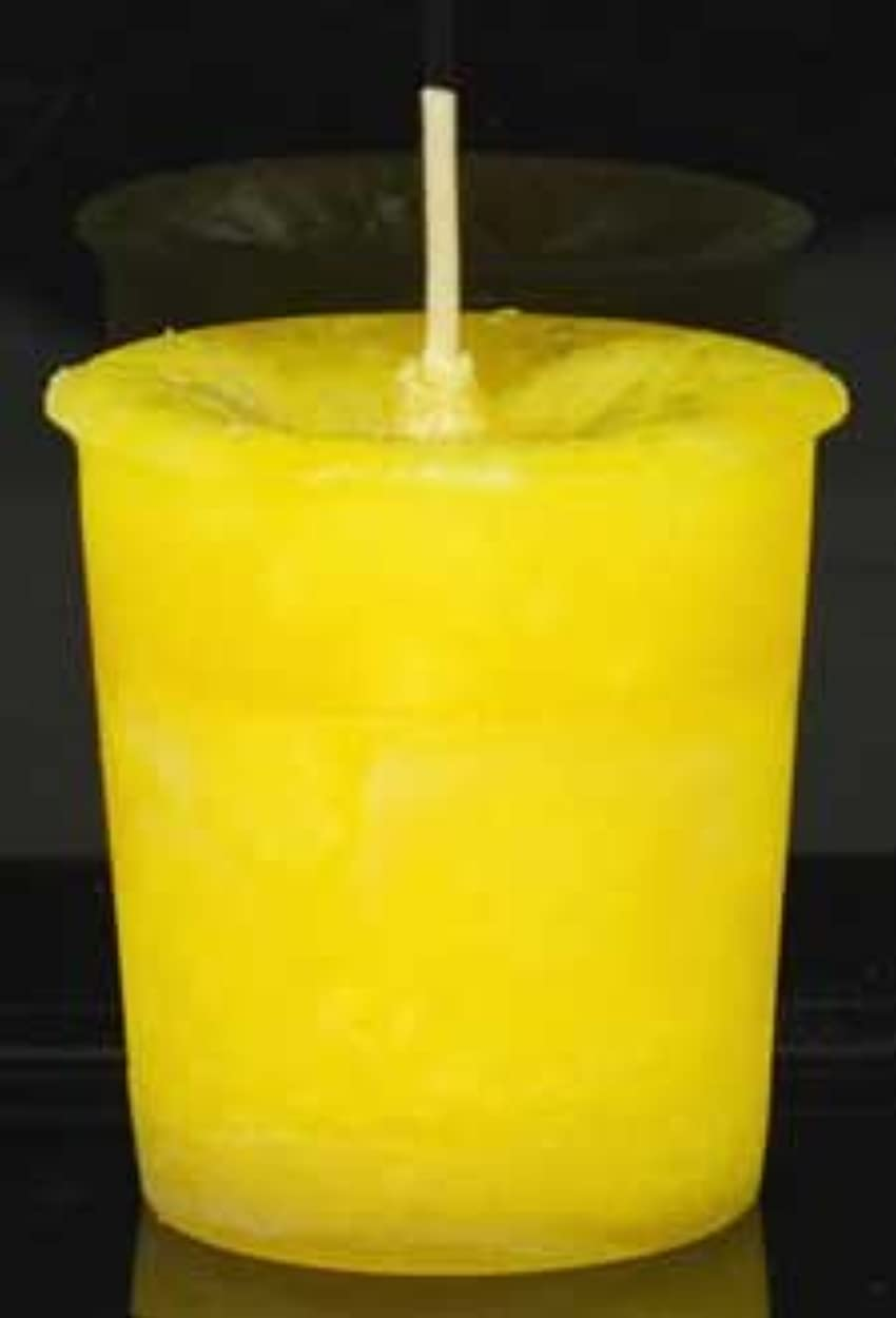 むき出し馬力実験室黄色でAzureGreen CVHPOSポジティブなエネルギーハーブ奉納キャンドル