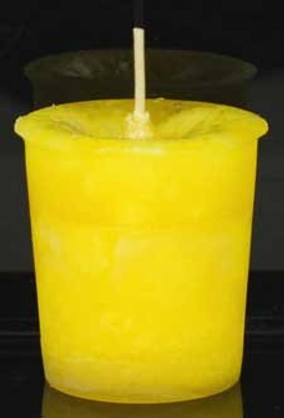 毛皮感謝しているリネン黄色でAzureGreen CVHPOSポジティブなエネルギーハーブ奉納キャンドル